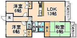 兵庫県伊丹市野間7丁目の賃貸マンションの間取り