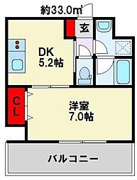 グレイシス浅川 3階1DKの間取り