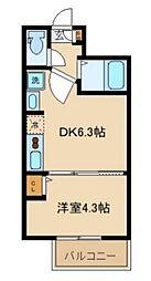 Sunny Hill Court Nakanosakaue 2階1DKの間取り
