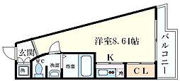 フォレステージュ江坂公園 7階1Kの間取り