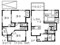 [一戸建] 大阪府羽曳野市河原城 の賃貸【/】の間取り