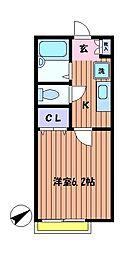 レストキューブ・トウエイ[2階]の間取り