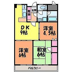 愛媛県松山市味酒町3丁目の賃貸マンションの間取り