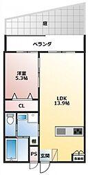 バス 当間原下車 徒歩3分の賃貸アパート 1階1LDKの間取り