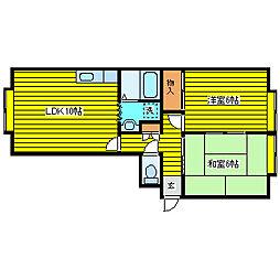 札幌市営東豊線 環状通東駅 徒歩22分の賃貸アパート 3階2LDKの間取り