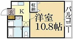 京都府京都市北区上賀茂梅ケ辻町の賃貸アパートの間取り
