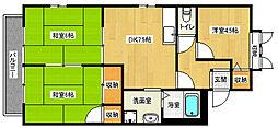 京都府京都市山科区西野大鳥井町の賃貸アパートの間取り