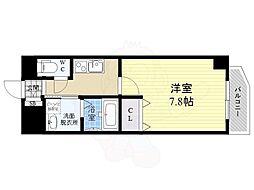 阪神本線 姫島駅 徒歩7分の賃貸マンション 8階1Kの間取り