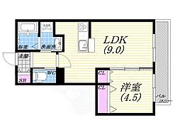 ラ・カーサ西宮北口 2階1LDKの間取り