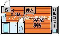 岡山県岡山市中区平井6丁目の賃貸マンションの間取り