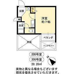 ロンモンターニュ小阪[306号室]の間取り