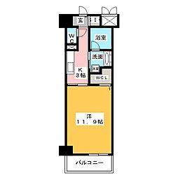 ベルオレイル 9階1Kの間取り