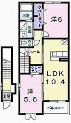 兵庫県たつの市揖西町土師の賃貸アパートの間取り