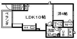 南海線 忠岡駅 徒歩8分の賃貸アパート 1階1LDKの間取り