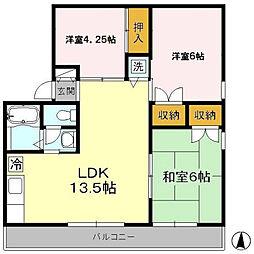 東京都国立市東2丁目の賃貸アパートの間取り