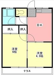 神奈川県大和市柳橋2丁目の賃貸アパートの間取り