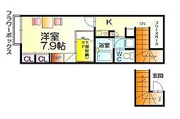 レオパレスパストラルウィンド[2階]の間取り