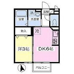 福岡県久留米市山川安居野3丁目の賃貸アパートの間取り