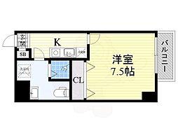阪神なんば線 九条駅 徒歩4分の賃貸マンション 5階1Kの間取り