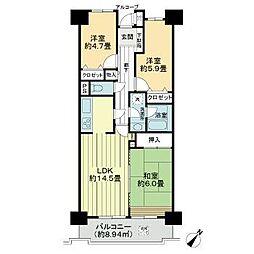 ライオンズガーデン花崎J棟 3階3LDKの間取り