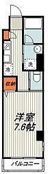 横浜市営地下鉄ブルーライン 仲町台駅 徒歩10分の賃貸マンション 2階1Kの間取り