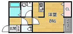 メゾン・ア・ルゥエ 1階1Kの間取り