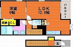 岡山県岡山市中区倉益丁目なしの賃貸アパートの間取り