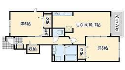 JR阪和線 熊取駅 徒歩26分の賃貸アパート 1階2LDKの間取り