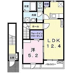 東急田園都市線 つくし野駅 徒歩10分の賃貸アパート 2階1LDKの間取り