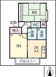 ハイカムール小田井[1階]の間取り