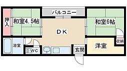 シャトー第1 2階3DKの間取り
