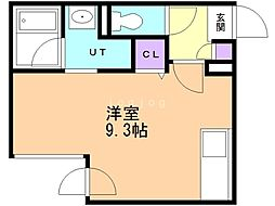 FERIO HAL 3階ワンルームの間取り