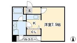 ボヌール三萩野[401号室]の間取り