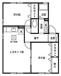 サンユーブレスII[1階]の間取り