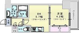 サンセール吹田 8階1DKの間取り