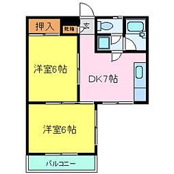 兵庫県神戸市灘区桜ヶ丘町の賃貸マンションの間取り
