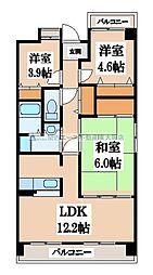 ソレアード三貴[1階]の間取り