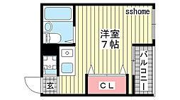兵庫県神戸市灘区新在家北町1丁目の賃貸マンションの間取り