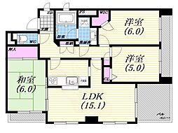 阪急神戸本線 芦屋川駅 徒歩3分の賃貸マンション 2階3LDKの間取り