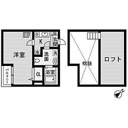 愛知県名古屋市中川区松ノ木町1丁目の賃貸アパートの間取り