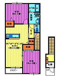 埼玉県日高市原宿の賃貸アパートの間取り