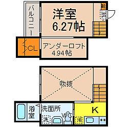 名古屋市営鶴舞線 植田駅 徒歩8分の賃貸アパート 2階1SKの間取り