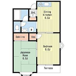 ウエストパークサイドB棟[2階]の間取り