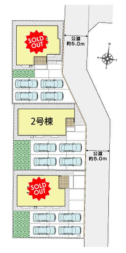 2号棟区画図 敷地面積212.76平米 64坪