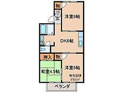 京都府城陽市水主塚の木の賃貸アパートの間取り