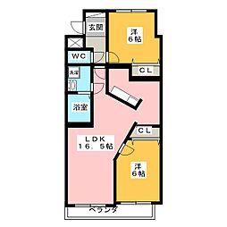シャトレ平野[6階]の間取り