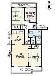 URパークシティ鴻巣駅前プラザ第二 5階3LDKの間取り