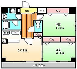 エルベコート堺東[902号室]の間取り