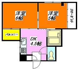 コーポK 203号室[2階]の間取り