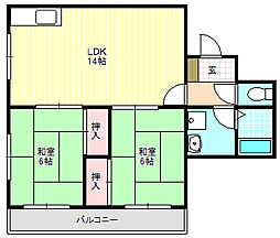 富士朝日町マンション[4階]の間取り